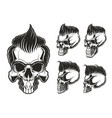 set of skulls with hair vector image vector image