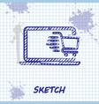 sketch line shopping cart on screen laptop icon vector image vector image