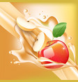 splash of apple juice in motion vector image vector image