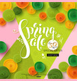 spring sale background with green paper flowers vector image vector image