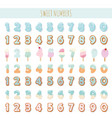 sweet numbers set in pastel blue different vector image vector image