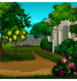 walking paths in the garden with ripe fruit of vector image vector image