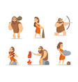 characters of male and female primitive cave vector image