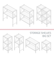 Storage shelves big set vector image