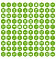 100 harmony icons hexagon green vector image vector image