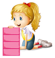 A girl holding an empty pink signage vector image vector image