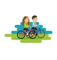Active lifestyle people ride bicycles vector image