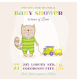 Baby Cat with a Train - Baby Shower Card vector image vector image