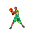 Basketball Player Ball In Action Low Polygon vector image