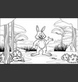 black and white coloring page rabbit with cartoon vector image