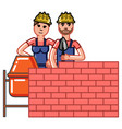 builder build a brick wall vector image vector image