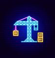 cargo crane neon sign vector image