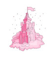 cartoon medieval fun pink castle with flag and vector image vector image