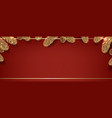 christmas fir tree border red background vector image vector image