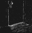 closed door in the dark room vector image vector image