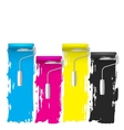 cmyk concept of a paint roller background vector image vector image