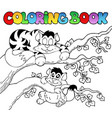 coloring book with two cats vector image