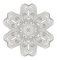coloring page with elegant lacery zentanle mandala vector image vector image