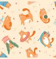 cute cats playing pattern pet animal walking vector image