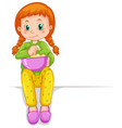 cute girl with bowl of popcorn vector image vector image