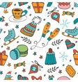 Cute hand drawn seamless pattern of winter related vector image vector image