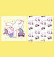 cute unicorn break dance hip hop and seamless vector image vector image