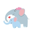Elephant Mom With Frower Wreath Animal Parent And vector image vector image