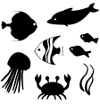 Fish silhouettes set 3 vector image vector image