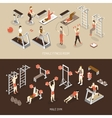 Fitness Isometric Horizontal Banners vector image