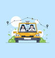 flat young man earning in taxi and carries woman vector image vector image