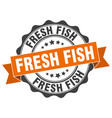 fresh fish stamp sign seal vector image