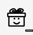 gift smile symbol black and white icon vector image vector image