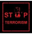 handprint with inscription Stop terrorism vector image
