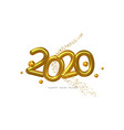 happy new year 2020 gold 3d number white card vector image