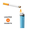 lighter and burning cigarette vector image vector image