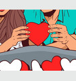 man and woman hands holding red heart shape vector image