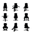 man silhouette sitting on office chair set vector image