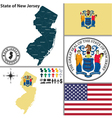 map new jersey with seal vector image