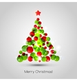 Merry christmas tree greeting card vector image