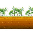 palm garden on the ground in seamless design vector image vector image