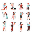 photographers or men and women with photo camera vector image