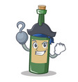 pirate wine bottle character cartoon vector image vector image