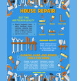 poster template of house repair work tools vector image vector image