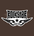 rockstar - music poster with wings and star rock vector image vector image