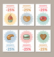 sale of confectionery desserts vector image vector image