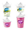 Set of yogurt plastic pots with splashes vector image