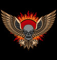 skull head and wings tattoo vector image