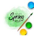 spring sale background with green paint strokes vector image