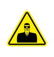 spy warning sign yellow secret agent hazard vector image