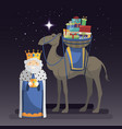 three kings day with king melchior camel and vector image vector image